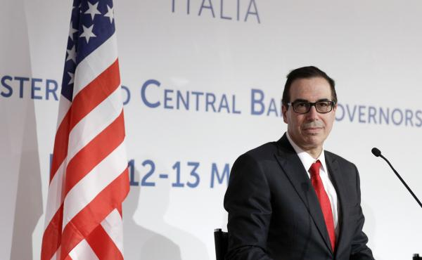 United States Treasury Secretary Steven Mnuchin gives a press conference on the last day of a three-day summit of G7 of finance ministers, in Bari, southern Italy, Saturday, May 13, 2017.