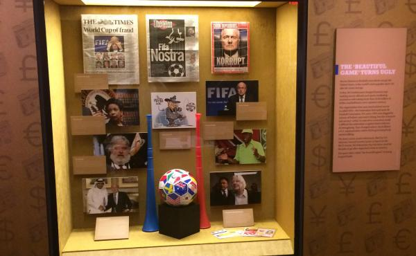 """The Mob Museum's new exhibit highlights the """"rampant corruption that plagues"""" the world soccer governing body, FIFA. It opened Tuesday."""