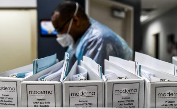 Moderna protocol files for COVID-19 vaccinations are kept at the Research Centers of America in Hollywood, Fla. The biotech company has new data reinforcing that its COVID-19 inoculation is safe and effective.