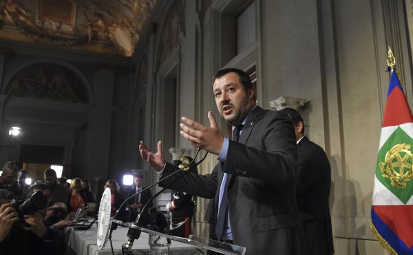 Matteo Salvini, leader of the far-right League party, speaks to the media Monday after meeting with Italian President Sergio Mattarella in Rome for coalition talks.