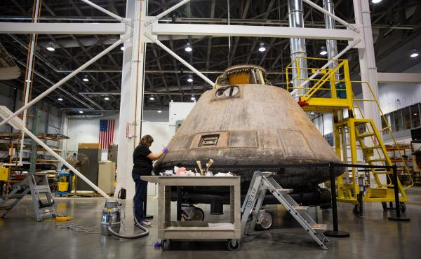 The Apollo 11 capsule in in sore need of restoration, conservation specialists say, if it's to last another 50 years. Even the adhesive that holds pieces of velcro in place is losing its stickiness, and some objects inside are starting to pop off.
