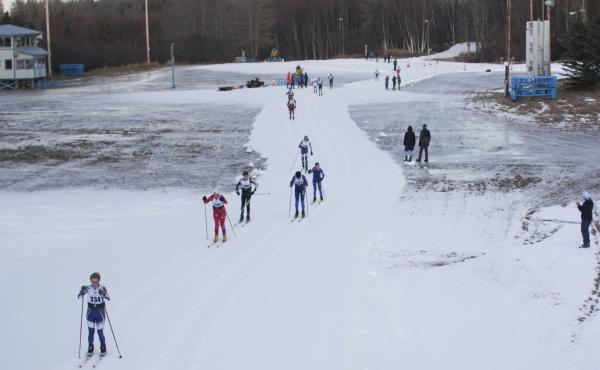 High school skiers compete in the annual Lynx Loppet race at Kincaid Park in Anchorage. The park has 30 miles of trails, but competitors were limited to a mile-long loop of man-made snow.