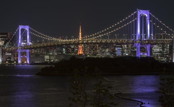 Tokyo's Rainbow Bridge is bathed in purple light on Thursday as part of the WeThe15 campaign. Launched ahead of the Tokyo Paralympic Games, the movement calls for an end to discrimination against people with disabilities.