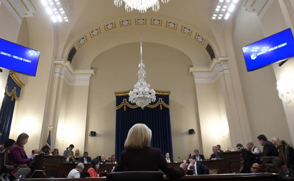 """Kirstjen Nielsen, then Homeland Security Secretary, testified on Capitol Hill before the House Homeland Security Committee in March. She said """"cases of fake families are cropping up everywhere,"""" among the surge of migrants at the Southern border."""