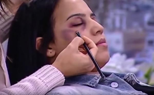 On a morning talk show on Moroccan TV, a makeup artist used a model to show how to conceal bruises caused by domestic violence.