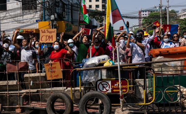 Anti-coup protesters in Yangon, Myanmar. Myanmar's military government has intensified a crackdown on protesters in recent days, using tear gas, charging at and arresting protesters and journalists.