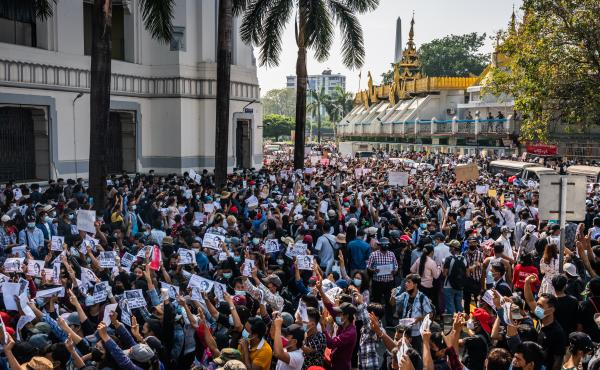 Protests continued on Monday in cities across Myanmar, including this one in Yangon, as people took to the streets to demand the release of de facto leader Aung San Suu Kyi and return to democratic rule following a military coup.