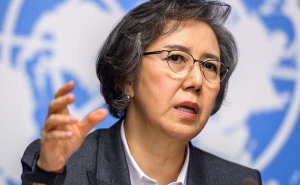 U.N. Special Rapporteur to Myanmar Yanghee Lee speaks at a press conference after reporting to the Human Rights Council in Geneva on Monday.
