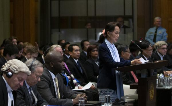 Myanmar leader Aung San Suu Kyi addresses judges of the International Court of Justice on the second day of hearings in The Hague, Netherlands, on Wednesday.