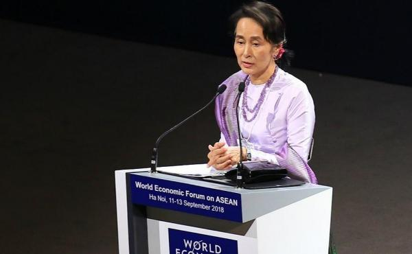 Myanmar State Counsellor Aung San Suu Kyi delivers speech at the opening ceremony of the World Economic Forum (WEF) on ASEAN 2018 at the National Convention Center in Hanoi, Vietnam.