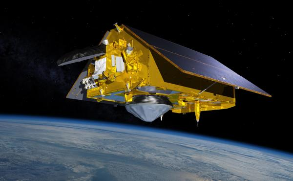 This illustration shows the Sentinel-6 Michael Freilich spacecraft in orbit above Earth with its deployable solar panels extended. As the world's latest ocean-monitoring satellite, it will collect the most accurate data yet on global sea level and how our