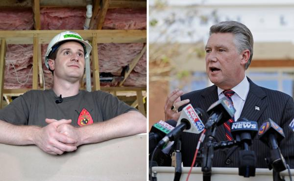 Democrat Dan McCready (left) and Republican Mark Harris are the candidates at the center of a contested race to represent North Carolina's 9th Congressional District. The state is investigating claims that a GOP operative may have manipulated ballots.