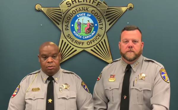 Pasquotank County Sheriff Tommy Wooten II (right) and Chief Deputy Daniel Fogg released a statement on Facebook on Saturday afternoon about the body camera footage related to the killing of Andrew Brown Jr.