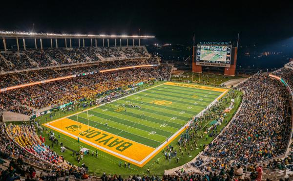 The Baylor Bears take on West Virginia Mountaineers at McLane Stadium on Oct. 31, 2019 in Waco, Texas. In a new report, the NCAA says the culture of sexual violence and a lack of accountability spanned the entire Baylor University campus — both inside a