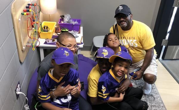 Sheletta and Shawn Brundidge, alongside their four children, were the first fans to use the sensory room at the Minnesota Vikings' U.S. Bank Stadium. Opened during the August pre-season, the space comes with trained therapists and provides fans, including