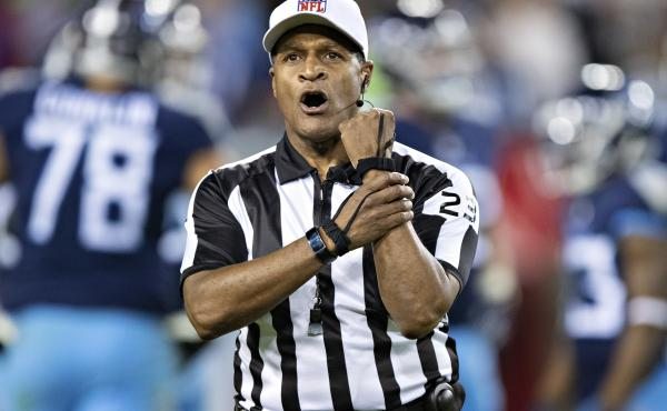 Referee Jerome Boger makes a holding call penalty during a game between the Tennessee Titans and the New York Jets in Nashville, Tenn. in December 2018. Boger will lead an all-Black officiating crew during Monday Night Football on Nov. 23.