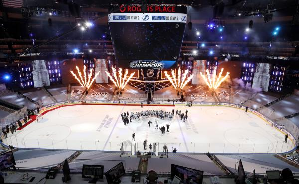 The Tampa Bay Lightning celebrate winning the Stanley Cup on Monday in Edmonton, Canada.
