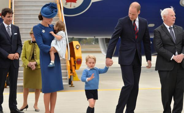 Canadian Prime Minister Justin Trudeau (left) greeted Catherine, Duchess of Cambridge; Princess Charlotte of Cambridge; Prince George of Cambridge; and Prince William, Duke of Cambridge when they arrived at Victoria International Airport on Saturday.