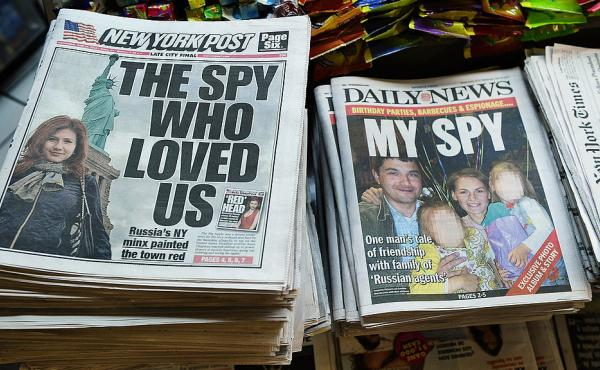 New York newspapers are on display following the arrest of 11 suspected Kremlin spies in 2010.