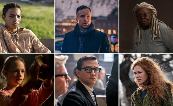 (Clockwise from upper left) Joshua Caleb Johnson in The Good Lord Bird, Rafe Spall in The Salisbury Poisonings, Whoopi Goldberg in The Stand, Nicole Kidman in The Undoing, Joseph Gordon-Levitt in The Trial of the Chicago 7 and Amelie Smith in The Haunting