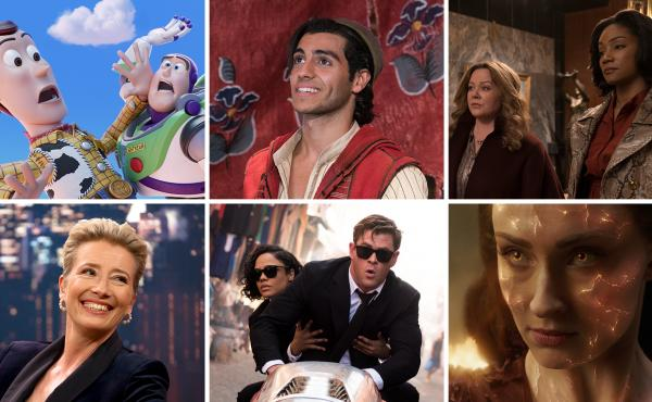 (Clockwise from top left) Toy Story 4, Aladdin, The Kitchen, Dark Phoenix, Men In Black: International, Late Night.