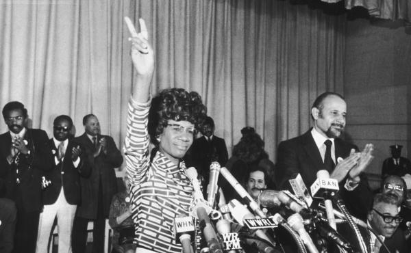 New York City says it will erect a statue of Shirley Chisholm, the first black woman elected to Congress. Chisholm is seen here in a Brooklyn church in January 1972, announcing her bid for the Democratic nomination for president.