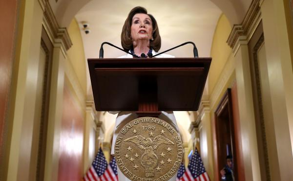 House Leader Nancy Pelosi Speaks To Press On The Status Of The Impeachment Inquiry