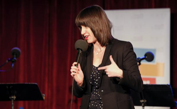 Ophira Eisenberg hosts NPR's Ask Me Another at The Bell House in Brooklyn, New York.