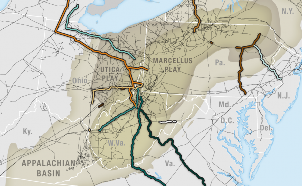 This map shows 11 recent proposed and approved natural gas pipeline projects in Appalachia.