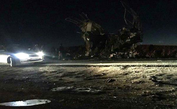 A bomb attack on a Revolutionary Guards bus in Iran's Sistan and Baluchestan Province Wednesday killed some 40 people.