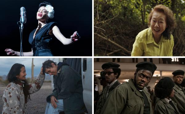 Clockwise from top left: Audra Day in United States Vs. Billie Holiday, Yuh-Jung Youn in Minari, Daniel Kaluuya in Judas and the Black Messiah, Nomadland director Chloé Zhao with Frances McDormand.