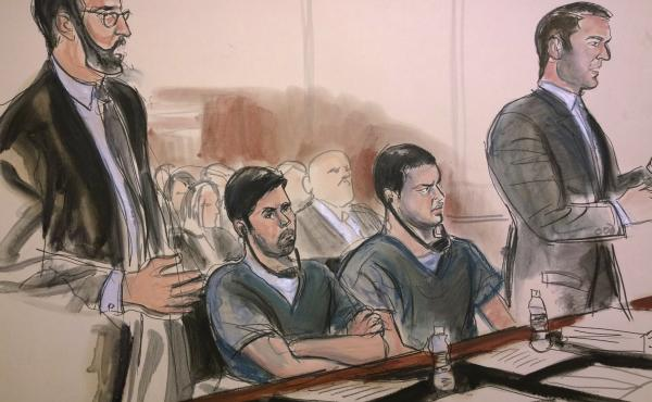 Defendants Efrain Antonio Campos Flores (center left) and Franqui Francisco Flores de Freitas (center right), as depicted in federal court in New York on Thursday, were sentenced to 18 years in prison on drug conspiracy charges.