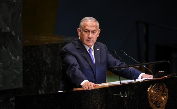 Israeli Prime Minister Benjamin Netanyahu applauds U.S. President Donald Trump during a speech at the United Nations during the United Nations General Assembly on Sept. 27.