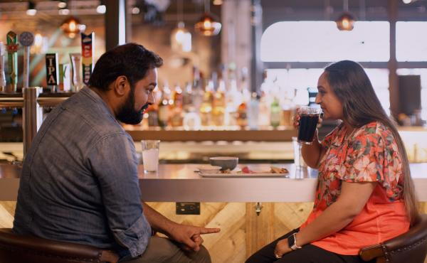 Is it a match? A potential couple  meet up courtesy of a matchmaker in the Netflix series Indian Matchmaking.