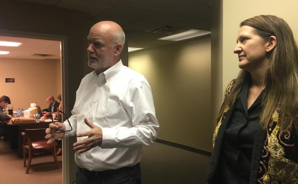 """Kendal Unruh and Dane Waters talk to reporters at the Cleveland headquarters of the """"Delegates Unbound"""" effort"""
