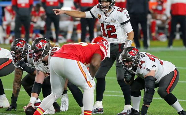 Tom Brady (12) of the Tampa Bay Buccaneers plays during the Super Bowl LV game against the Kansas City Chiefs in February.