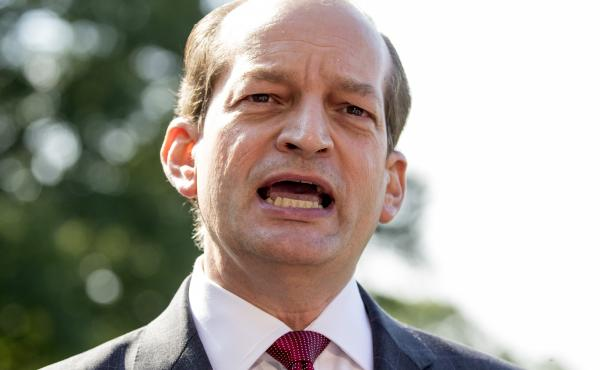 """Alex Acosta said Friday he is stepping down as labor secretary so his handling of a 2008 prosecution of Jeffrey Epstein won't distract from the U.S. economy's """"amazing"""" performance."""