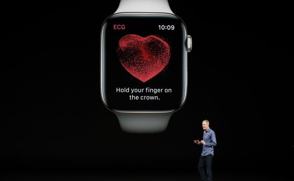 Jeff Williams, Apple's chief operating officer, speaks about the new Apple Watch Series 4 at the company's product-launch event in Cupertino, Calif., on Wednesday. The new Watch includes a sensor allowing users to take an electrocardiogram they can share