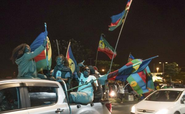 Pro-independence supporters celebrate the results of an independence referendum vote in Nouméa, New Caledonia, in October. In a vote that marked a milestone in a three-decade decolonization effort, 46.7% supported independence. Now the Pacific island ter