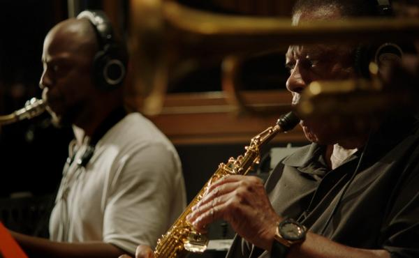 Marcus Strickland, left, and Wayne Shorter, as seen in the documentary Blue Note Records: Beyond the Notes.