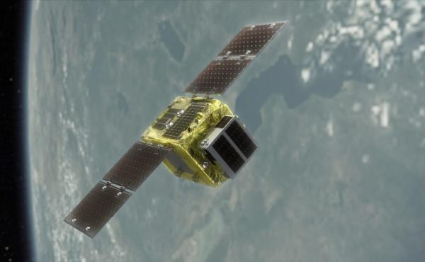 A rendering showing ELSA-d's concept of operations. The mission aims to demonstrate technology that could help clear space debris.
