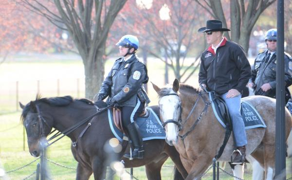 On Thursday, U.S. Secretary of the Interior Ryan Zinke rides a horse to his first day on the job. Zinke was confirmed by the Senate the day before, by a 68-31 vote.