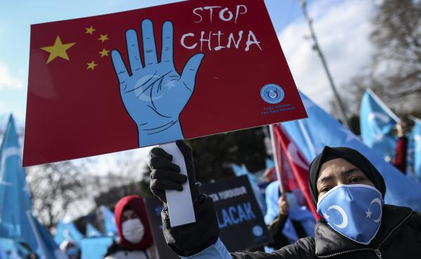 """Uyghurs living in Turkey protested China in March for the country's human rights abuses in its western Xinjiang province. A new Amnesty International report substantiates these abuses, calling them """"crimes against humanity."""""""
