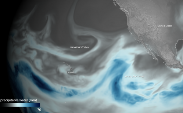 Atmospheric rivers are sinews of moisture from the tropics. The one pictured here appeared over the Northern Pacific on Jan. 3.