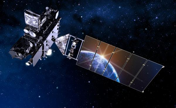 An artist's depiction of the new GOES-R satellite.