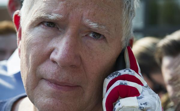 Rep. Mo Brooks with reporters in Alexandria, Va., following the June 14 shooting by a rifle-wielding gunman at a congressional baseball practice.