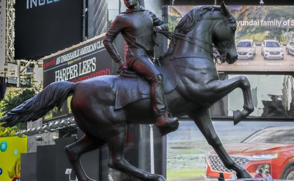 Kehinde Wiley's statue Rumors of War spent several weeks at New York's Times Square in late September. The work was unveiled Tuesday in Richmond as a permanent installation.