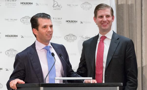 Donald Trump Jr. and Eric Trump, executive vice presidents at the Trump Organization, attend the Trump International Hotel And Tower Vancouver Grand Opening in February.