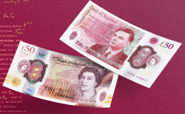 The new polymer bank note, shown in an image provided by the Bank of England, was unveiled to the public nearly two years after officials first announced it would honor Turing.