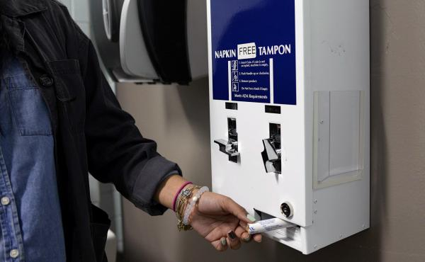 In some New York City schools, the bathroom dispensers provide sanitary products for free.